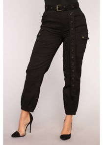 High Waisted Long Belt Utility Cargo Fitted Joggers Trousers Black