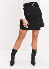 High Waisted Mini A Line Skirt Black