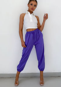 High Waisted Oversized Jogger Trousers Purple