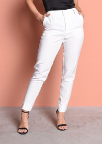 High Waisted Pinstripe Tailored Trousers White