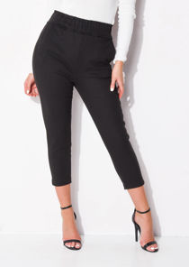 High Waisted Pocket Detail Tapered Leg Trousers Black