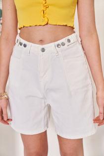 High Waisted Rivet Side Strapped Denim Shorts White