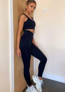 High Waisted Ribbed Legging crop Top Gym Co Ord Set Black