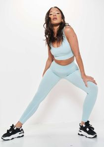High Waisted Ribbed Legging crop Top Gym Co Ord Set Blue