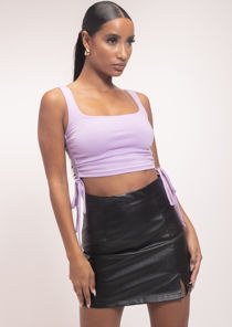 High Waisted Side Split Pu Mini Skirt Black