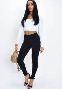 High Waisted Skinny Jegging Trousers Black