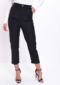 High Waisted Tapered Leg Tailored Trousers Black