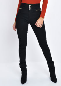 High Waisted Triple Button Denim Jeans Trousers Black