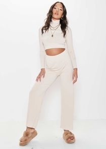High Waisted Turtle Neck Crop Sweater Pants Loungewear Co-Ord Set Beige