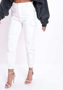 High Waisted Utility Cargo Trousers White