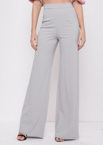 High Waisted Wide Leg Palazzo Trousers Grey
