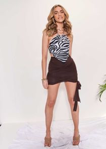 High Waisted Wrap Over Side Knotted Mini Skirt Brown