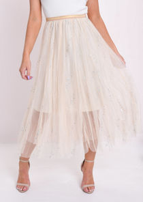 Holographic Circle Embellished Tulle Midi Skirt Beige