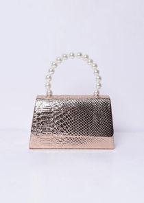 Croc Embossed Faux Pearl Mini Tote Bag Gold