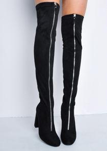 Knee High Faux Suede Front Metal Zip Long Boots Black