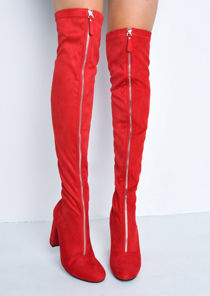 Knee High Faux Suede Front Metal Zip Long Boots Red