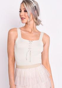 Knit Ribbed Square Neck Lace Up Front Vest Top Beige