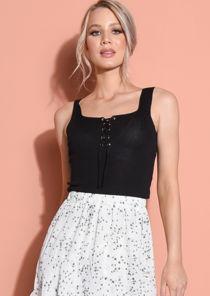 Knit Ribbed Square Neck Lace Up Front Vest Top Black