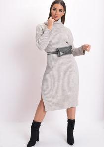 Knit Roll Neck Midi Dress Beige