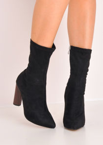 Faux Suede Sock Ankle Boots Black