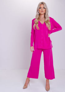 Knitted Button Down Long Cardigan Top Culotte Trousers Co Ord Set Fuchsia Pink