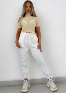 Knitted High Waisted Drawstring Loungewear Joggers White