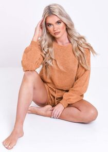Knitted Long Sleeve Oversized Crop Top Shorts Loungewear Co Ord Brown