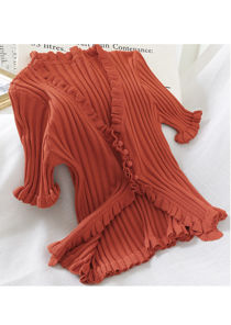 Knitted V Neck Frill Button Front Top Rust Orange