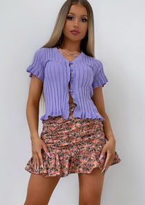 Knitted V Neck Frill Button Front Top Purple