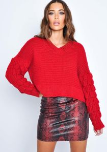 Knitted V Neck Wool Jumper Red