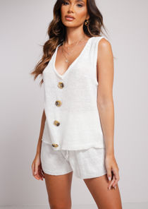 Knitted V Neckline Button Down Top Shorts Loungewear Co Ord Set White