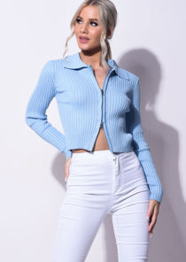 Knitted Zip Front Ribbed Chunky Collared Cardigan Top Blue