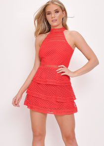 Lace Tiered Frill Skater Mini Dress Red