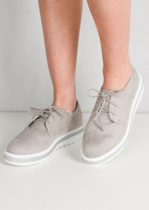 Lace Up Faux Suede Flatform Flats Grey