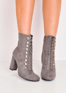 Lace Up Faux Suede Military Style Ankle Boots Grey