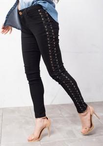 Lace Up Skinny Jeans Black