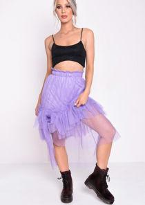 Layered Frill Trim Tulle Midi Skirt Purple