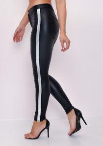 Leather Look Glitter Side Stripe Trousers Black