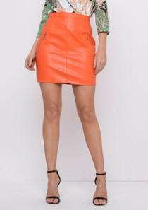 Leather Look Mini Skirt Orange