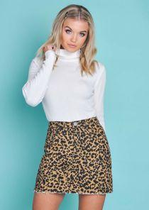 Leopard Print Denim Mini Skirt Multi