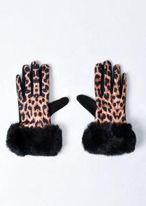 Leopard Print Faux Fur Gloves Multi