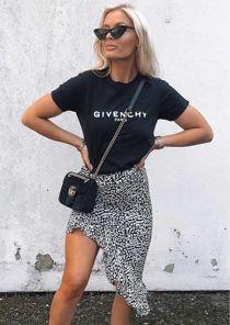 Leopard Print Frill Asymmetrical Skirt Black