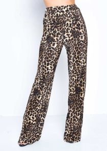 Leopard Print Pleated High Waisted Trousers Multi