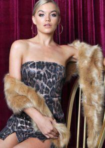 Leopard Print Sequin Strapless Mini Dress Multi