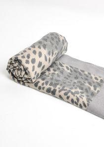 Leopard Print Soft Touch Border Scarf Grey