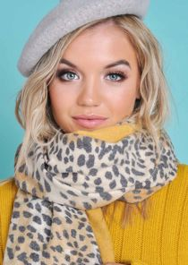 Leopard Print Soft Touch Border Large Scarf Mustard Yellow