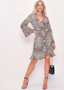 Leopard Print Wrap Frill Trim Dress Multi