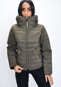 Lightweight Quilted Puffer Padded Jacket Coat Khaki