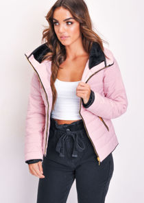Lightweight Quilted Puffer Padded Jacket Coat Pink