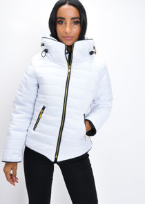 Lightweight Quilted Puffer Padded Jacket Coat White
